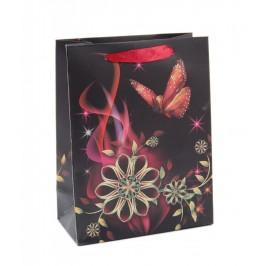 Стилна подаръчна торбичка с брокат - пеперуди и цветя