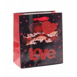 Валентинска подаръчна торбичка с брокат - сърца