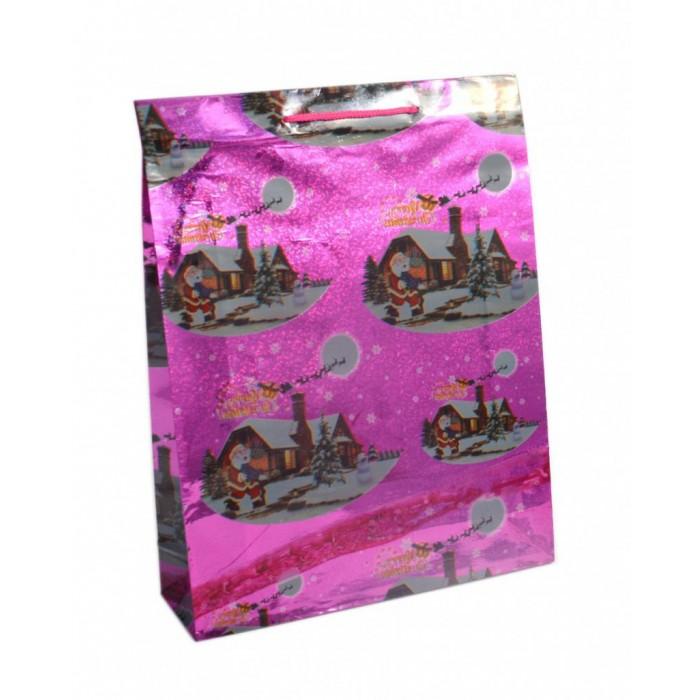Лъскава подаръчна торбичка с изобразени коледни мотиви