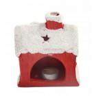Декоративен свещник във формата на къщичка с Дядо Коледа и елен