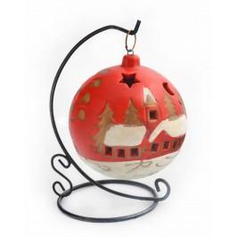 Декоративна украса - светеща коледна топка на поставка