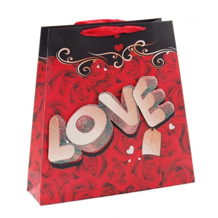 Валентинска подаръчна торбичка с 3D елемент и брокат