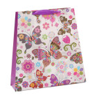 Цветна подаръчна торбичка с брокат - пеперуди и цветя