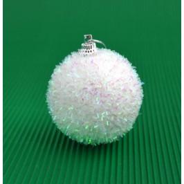 Комплект от 6бр коледни топки за окачване на елха, декорирани с блестящиленти