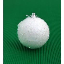 Комплект от 6бр коледни топки за окачване на елха, декорирани с блестящи елементи