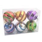 Комплект от 6 бр. топки за окачване на елха, декорирани с брокат