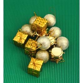 Комплект от 24бр. украса за елха - 12бр топки, 6бр барабанчета и 6бр. подаръчета