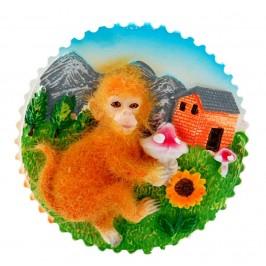 Кръгла магнитна фигурка - маймунка с цвете
