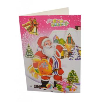 Коледна картичка с 3D елементи, декорирана с брокат
