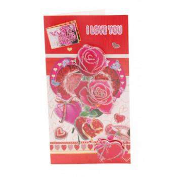 Валентинска картичка декорирана с брокат и 3D елементи - рози, сърца и надпис I love you