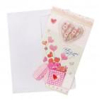 Валентинска картичка декорирана с брокат и 3D елементи - сърца