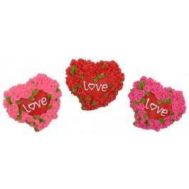 Сувенирна магнитна фигурка - сърце, декорирано с миниатюрни рози и надпис LOVE