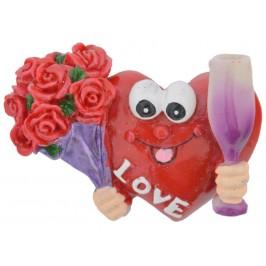 Сувенирна магнитна фигурка - сърце, декорирано с букет рози и чаша за шампанско
