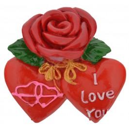 Сувенирна магнитна фигурка - роза, декорирана с две сърца