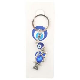 Сувенирен ключодържател с фигурка - бухал със сини очи