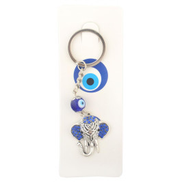 Сувенирен ключодържател с фигурка - слонче, декорирано със сини камъчета