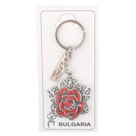 Сувенирен метален ключодържател - роза, декорирана с цветни камъни