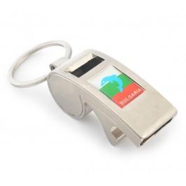 Метален ключодържател - свирка с отварачка, декориран с цветовете на българския трикольор Размери на свирката: 5х2см