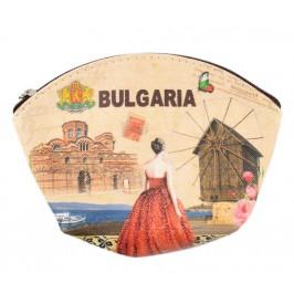 Сувенирно малко портмоне от изкуствена кожа с изобразени - забележителности от Несебър с надпис България