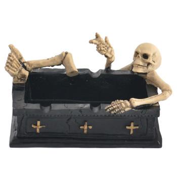 Сувенирен пепелник - ковчег, декориран със скелети