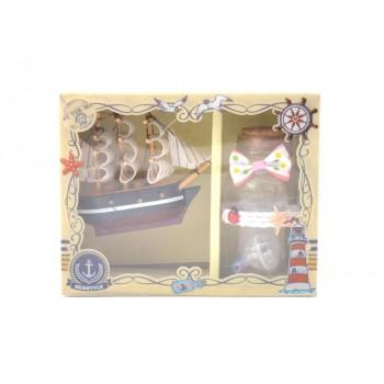 Подаръчен комплект от корабче и малко бурканче с късметчета и светеща топка