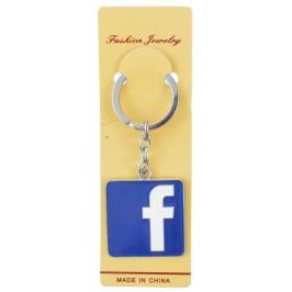 Ключодържател с цветна метална пластинка - логото на Facebook