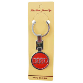 Автомобилен метален ключодържател - кръгла червена емблема на AUDI