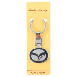 Автомобилен метален ключодържател - черна емблема на Mazda