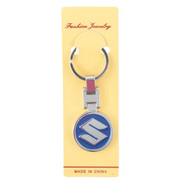 Автомобилен метален ключодържател - кръгла синя емблема на Suzuki