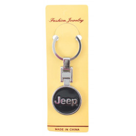 Автомобилен метален ключодържател - кръгла черна емблема на Jeep