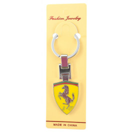 Автомобилен ключодържател - метална жълта пластина - Ferrari