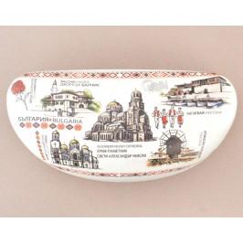 Сувенирен калъф за очила, декориран с изображения на забележителности от Балчик, Варна, Несебър и София