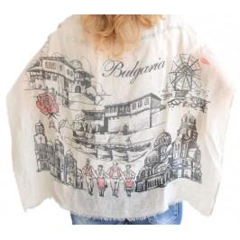 Красив дамски шал, рисуван със забележителности от Варна, Несебър, Балчик и София