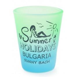 Сувенирна чаша за шот, декорирана с излегната жена и надпис - Summer Holidays Bulgaria Sunny beach