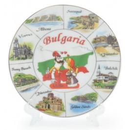 Сувенирна чинийка с лазерна графика - мъж и жена в народни носии, забележителности от Българското черноморие