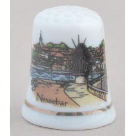 Сувенирен керамичен напръстник, декориран с вятърната мелница в Несебър