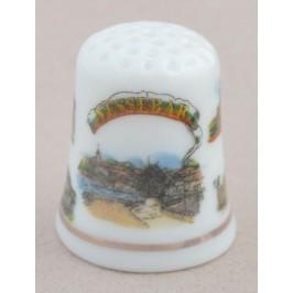 Сувенирен керамичен напръстник, декориран със забележителности от Несебър