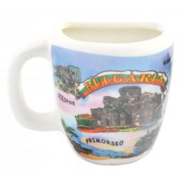 Сувенирна чаша с магнит, декорирана със забележителности от Несебър, Приморско, Слънчев бряг и Созопол