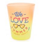 Сувенирна чаша за шот, декорирана със забавно послание - We love summer and Bulgaria love us
