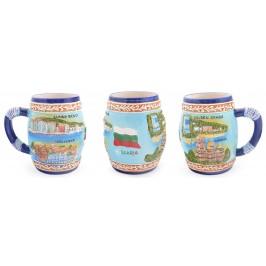 Сувенирна керамична чаша с релефни забележителности от Балчик, Варна, Златни пясъци, Слънчев бряг и Несебър