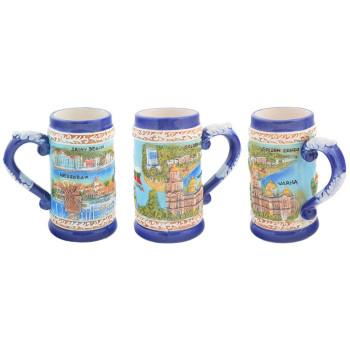Сувенирна керамична чаша с релефни забележителности от Варна, Златни пясъци, Несебър и Слънчев бряг
