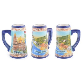Сувенирна керамична чаша с релефни забележителности от Варна и Златни пясъци