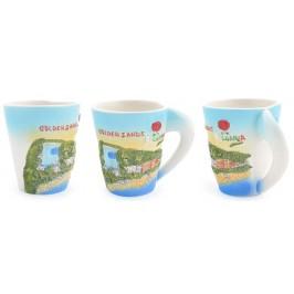 Сувенирна керамична чаша с релефни забележителности от Златни пясъци и логото на България
