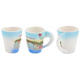 Сувенирна керамична чаша с релефни забележителности от Слънчев бряг
