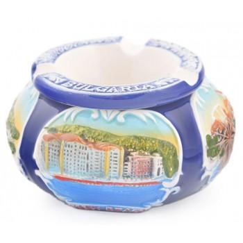Сувенирен релефен пепелник с капак, декориран със забележителности от Черноморието
