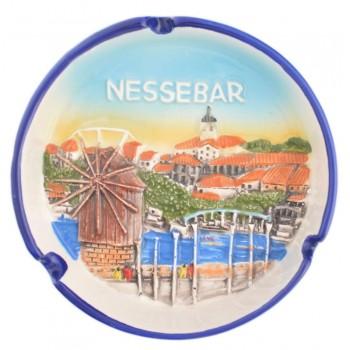 Сувенирен керамичен пепелник - Вятърната мелница в Несебър