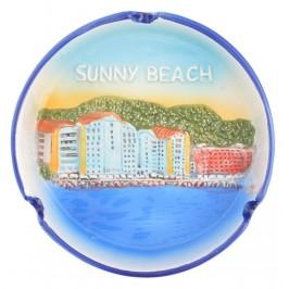 Сувенирен керамичен пепелник - изглед на плажната ивица в Слънчев бряг