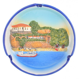 Сувенирен керамичен пепелник - изглед на къща до морето