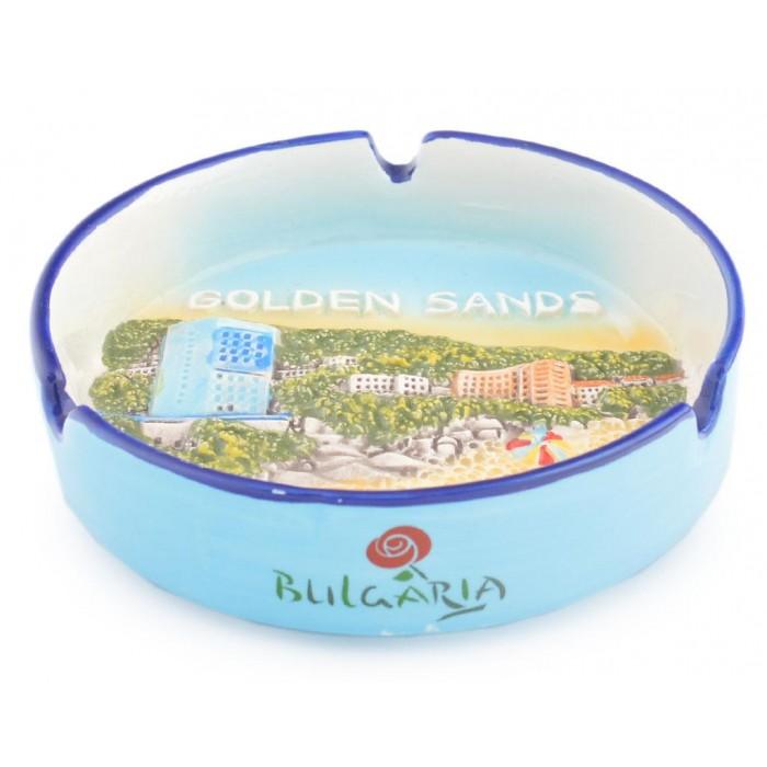 Сувенирен керамичен пепелник - изглед на хотелите с плажната ивица в Златни пясъци