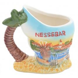 Сувенирна релефна чаша във формата на раковина с палма